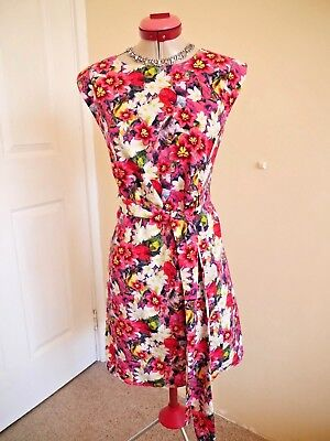 AU65 • Buy RIVER ISLAND Pink DRESS Size UK 14 BNWT NEW White Green Floral Party Races