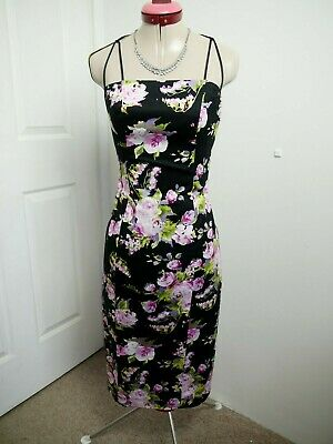 AU39.95 • Buy INTANGIBLE Black Floral DRESS Size 6 Pink Bodycon Stretch Wedding Party Races