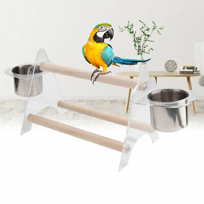 Pet Parrot Bird Perch Rack Playstand Play Training Stand With 2 Feeding Bowl Cup • 6.99£