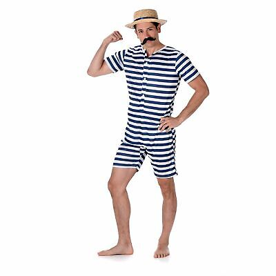 Mens Old Time Bathing Suit Victorian 1920s Fancy Dress Costume • 15.99£