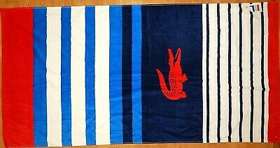 £21.47 • Buy Lacoste 100% Cotton Beach Towel Crocco Blue/red/white New Authentic