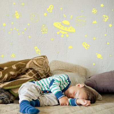 Fashion Fluorescent Spaceship Stickers Home Decoration For Child Room SM • 2.21£
