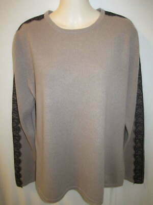 $19.95 • Buy 100% Cashmere Light Brown With Black Lace Trim Longer Length Sweater May Fit L
