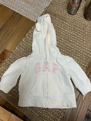 AU4.40 • Buy Baby Girls BABY GAP White/Pink Hooded Zip Up Jacket - Size 0-3 Months