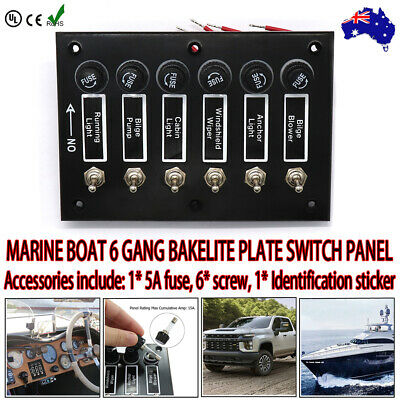 AU35.95 • Buy Marine Boat 6 Gang Bakelite Plate Switch Panel With 5a Fuses Neoprene Toggle