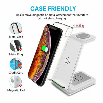 AU44.87 • Buy 3in1 Wireless Qi Charging Stand Fast Charger Dock For Apple Watch IPhone X Xs 8