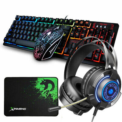 AU64.76 • Buy AU 4in1 Combo Gaming Keyboard And Mouse + LED Headset Rainbow Backlight For PS4