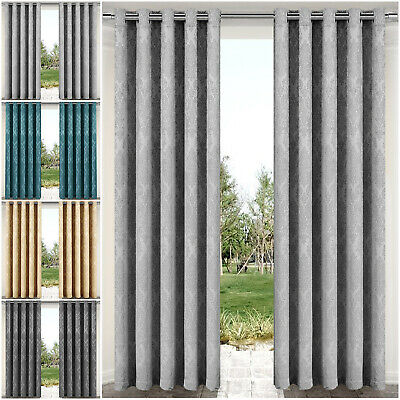 Thermal Insulated Blackout Curtains Eyelet Ring Top Outdoor Patio Curtain Pair • 22.99£