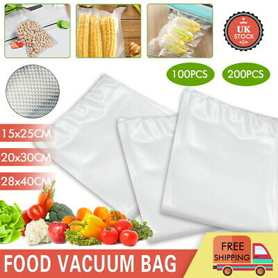 100/200x Vacuum Sealer Food Bags Storage Textured Pouches Seal Embossed Vac SML • 14.99£