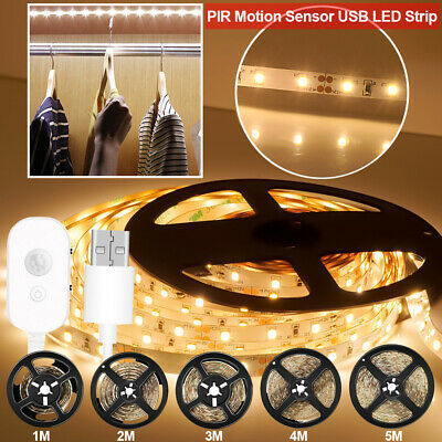 $8.99 • Buy USB PIR Motion Sensor Battery Powered LED Strip Light Stairs Cabinet Closet Lamp