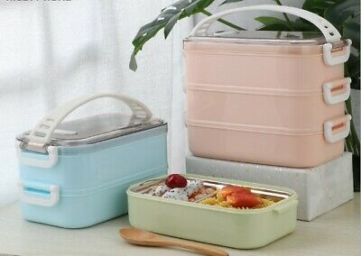 AU27.50 • Buy Multiple Layered 304 Stainless Steel Insulated Bento Lunch Box Food Container