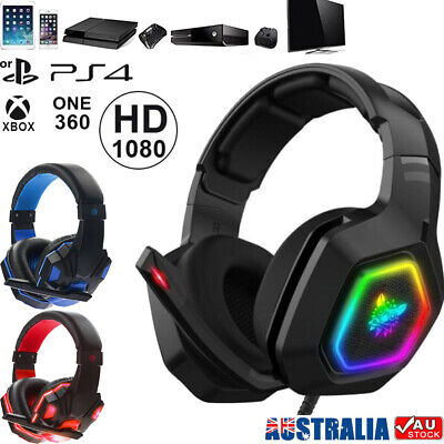 AU38.59 • Buy Pro Gamer Gaming Headset 3.5mm+USB MIC LED Headphones For PC Laptop PS4 Xbox One
