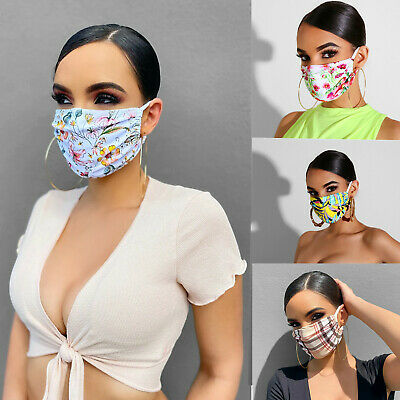 Womens Floral Print Cotton Protective Reusable Comfortable Washable Face Mask • 3.99£