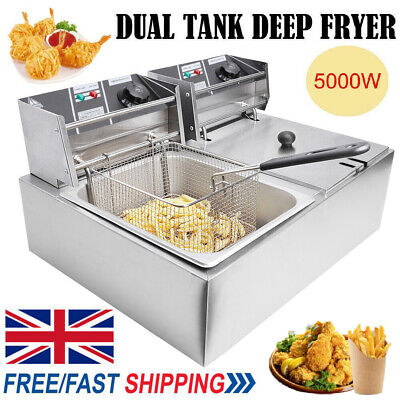 £98.98 • Buy 20L Commercial Electric Deep Fat Chip Fryer Dual Tank Stainless Steel 12L Oil