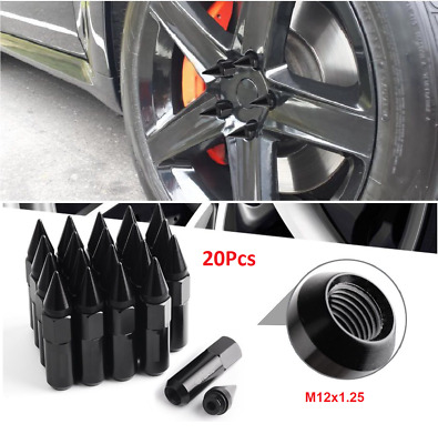 $35.88 • Buy 20x Black Cap Spiked Extended Tuner 60mm Aluminum Wheels Rims Lug Nuts M12x1.25