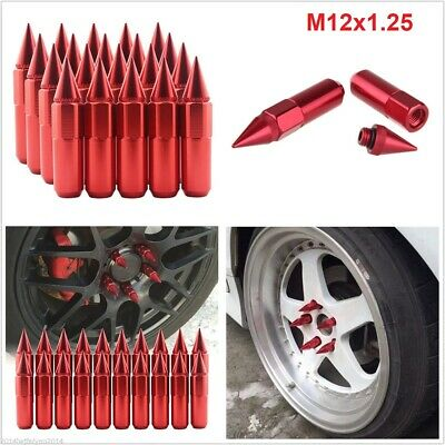 $38.88 • Buy 20Pcs Red Cap Spiked Extended Tuner 60mm Aluminum Wheels Rims Lug Nuts M12x1.25