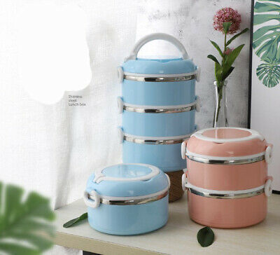 AU22.98 • Buy Multiple Layered Stainless Steel Insulated Bento Lunch Box Container Leak Proof