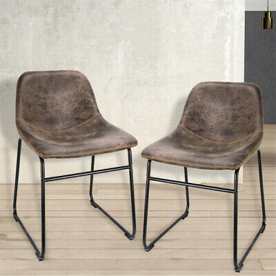 2 Brown Kitchen Dining Chair Faux Leather Upholstered Seat Restaurant Back Stool • 66.94£