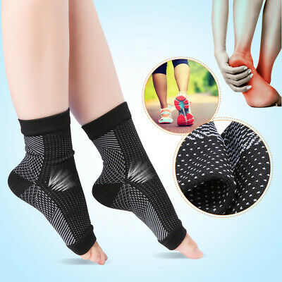 Pair Compression Ankle Socks Foot Heel Sleeve Arthritis Pain Relief Feet Support • 4.54£