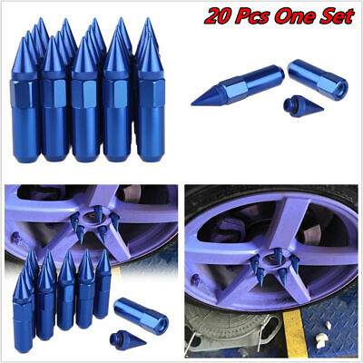 $35.88 • Buy 20Pcs Blue Cap Spiked Extended Tuner 60mm Aluminum Wheels Rims Lug Nuts M12x1.25