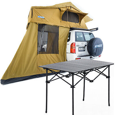 AU1056.95 • Buy Kings Roof Top Tent With 4 Man Annex + Aluminium Roll-Up Camping Table