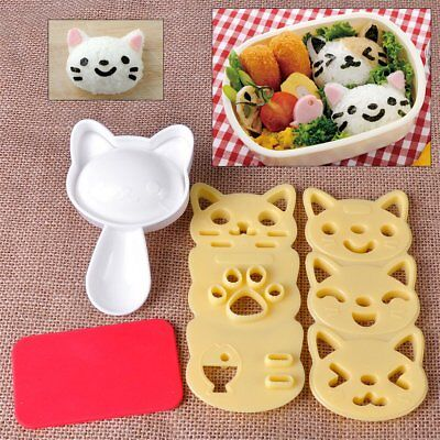 New DIY 3D Cat Bento Rice Ball Mold Sushi Chocolate Sandwich Cutter Mould Tool • 7.87£