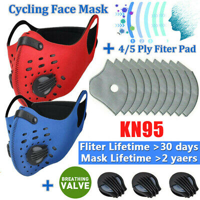 $ CDN11.91 • Buy Anti-Pollution Sports Face Protection Cover Replaceable Filter Pad W/ Valves US