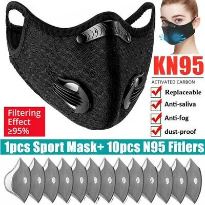 $ CDN15.26 • Buy 1pcs Cycling Face Cover With 10pcs Breath Valve Activated Carbon Filters Pad US