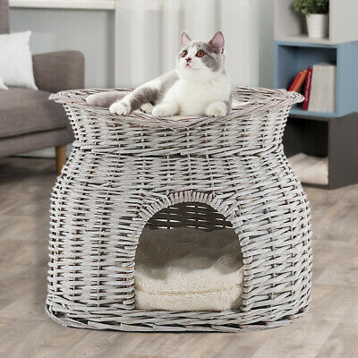 2 Tier Wicker Pet Bed Basket Cat Kitten Puppy Sleep Play House Removable Cushion • 29.95£