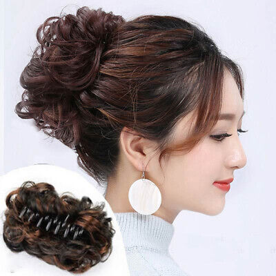 Women Natural Curly Wave Hair Bun Clamp Hair Extension Hairpiece Wig Claw Clip • 5.59£