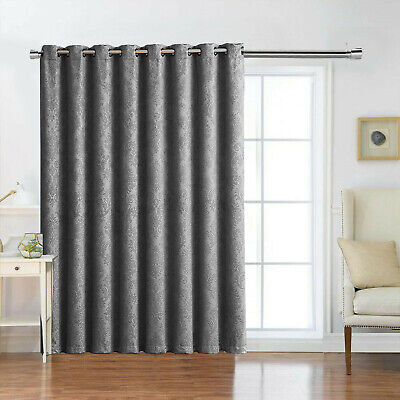Thermal Blackout Door Curtains Ready Made Eyelet Ring Top Curtain Panel Tieback • 20.99£