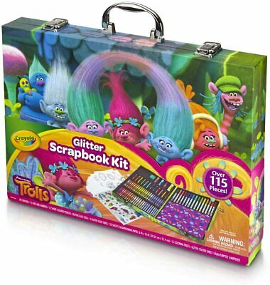 Crayola Glitter Scrapbook Kit Case Trolls Colouring Crayons Art Tools Over 115 P • 15.99£