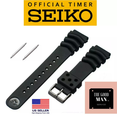 $ CDN27.14 • Buy Genuine Seiko Z22 Watch Band Diver SKX171SKX173 18-22mm Black Rubber Curved Vent