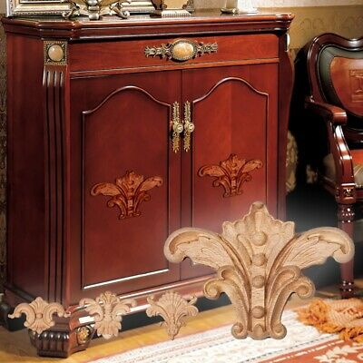$6.69 • Buy 2PC Wood Covering Applique Cabinets Floral Carved Decal Unpainted Onlay Decor