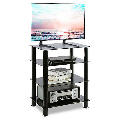 HiFi Stand AV Shelf TV Stand Rack 4-Tiers Audio Rack Entertainment Media Cabinet • 59.99£