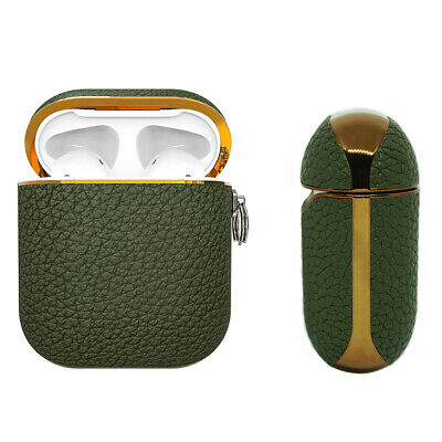 AU25.99 • Buy Apple AirPods Genuine Leather Case Green Luxury Shockproof Cover - Vert