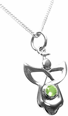Sterling Silver Birthstone Guardian Angel Necklace - August • 9.95£
