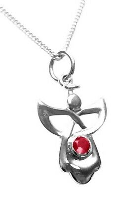Sterling Silver Birthstone Guardian Angel Necklace - July • 9.95£