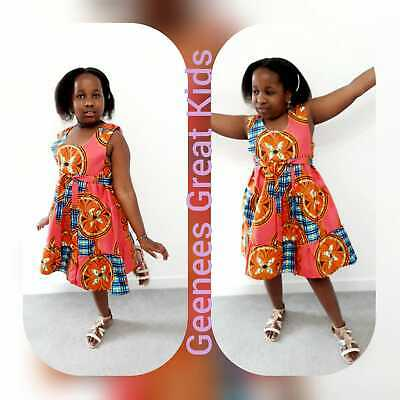 Girls Ankara African Print Flared Summer Dress Ages 2 To 13 Years Made To Order • 15.99£