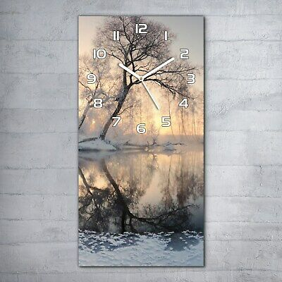 £44.95 • Buy Home 30x60 Glass Wall Clock Winter Sun Illuminate Frosty Trees In The Morning