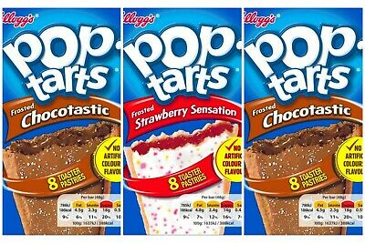 3x Mixed Kellogg's Pop Tarts Frosted Chocolate & Frosted Strawberry American 48g • 9.99£