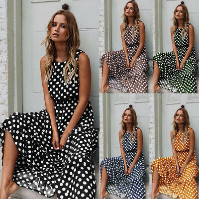 UK Women Summer Polka Dot Maxi Dress Ladies Beach Holiday Long Dress Sundress • 11.51£