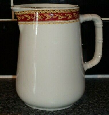 Sampson Bridgwood Lifelong Ironstone Milk Jug 500ml Red & Gold Rim • 10.99£