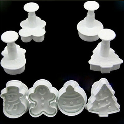 DIY Christmas Snowman Fondant Cake Mold Biscuit Cookie Plunger Cutters Decor RC • 3.89£