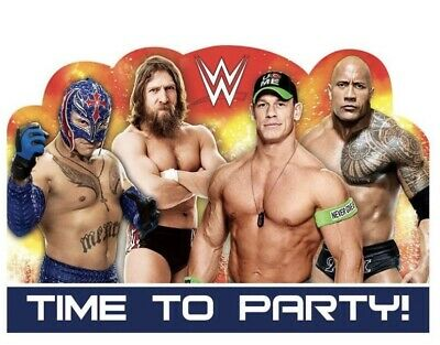 WWE Wrestling Invitations W/Envelopes (8) Party Supply Decorations. • 4.07£