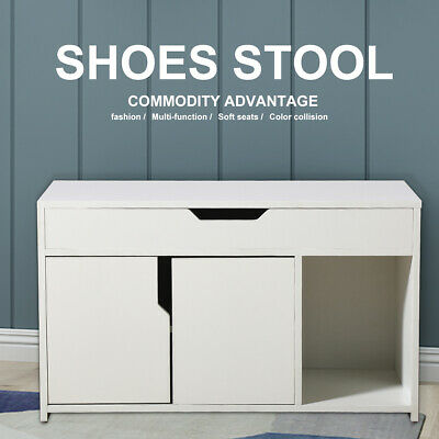 White Shoe Cabinet Storage Bench Hallway Footwear Rack Shoes Stool With Shelves  • 51.90£