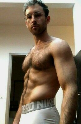 $ CDN4.40 • Buy Shirtless Male Hairy Body Dude Beefcake Glasses Nike Boxer Briefs PHOTO 4X6 G17