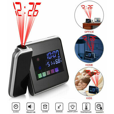 LED Digital Projection Alarm Clock LCD Display W/ Temperature Weather Station • 5.99£
