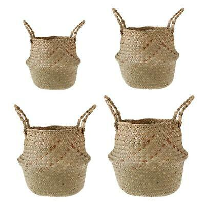 Foldable Handmade Grass Wickerwork Storage Basket Hanging Laundry Basket • 5.89£