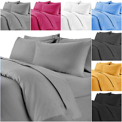 Brushed Fabric Duvet Cover Bedding Set With Pillowcase Single Double & King Size • 14.99£